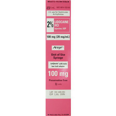 *Box Quantity* Lidocaine, 2%, 100mg, 5ml Ansyr Prefilled Syringe