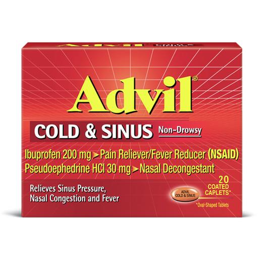 Advil Cold & Sinus Caplets, For Analgesic/Decongestant *Non-Returnable*