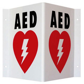 AED Wall Sign, 9in H x 6.1in D, Red, Double Sided