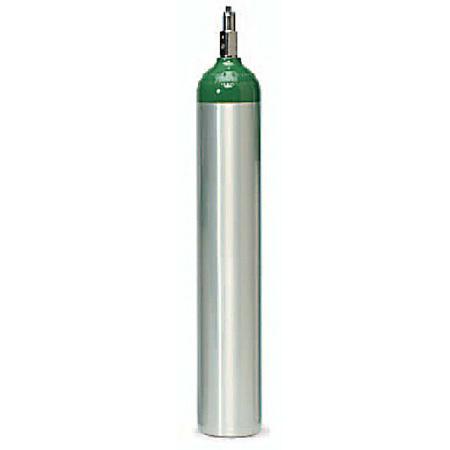 Oxygen Cylinder Tank, Aluminum, Toggle Valve, Size E