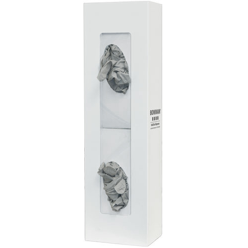 Space Saver Glove Box Dispenser, Double, White Steel