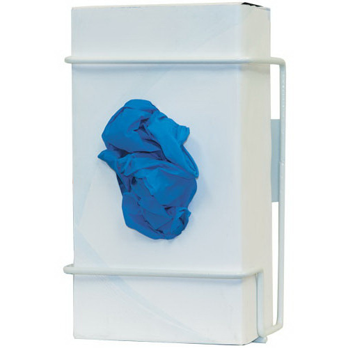 Glove Box Dispenser, 8.16 H x 5.6 W x 3.7in D, White, Coated Wire