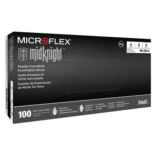 MidKnight® Nitrile Exam Gloves, Black, Medium