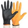 Black-Fire Nitrile Exam Gloves, Black/Orange, XS