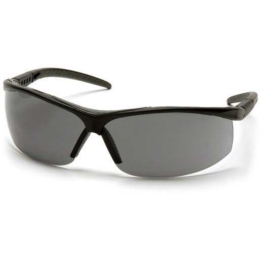 Pacifica® Safety Glass with Gray Lens and Black Frame, Gray Cushioned Brow Protector