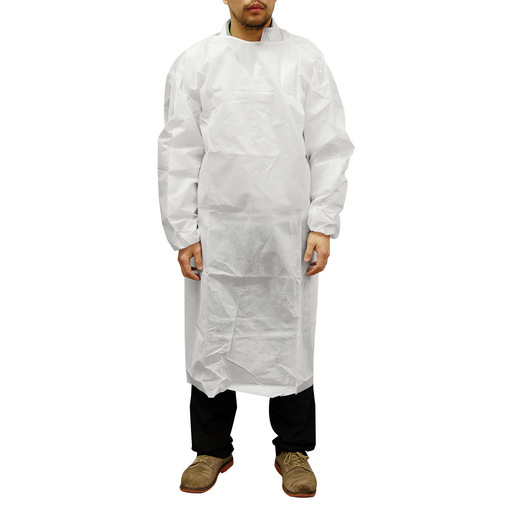PE Coated Personal Protection Gown, White, XL *Non-Returnable and Non-Cancelable*