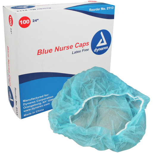 Disposable Nurses O.R. Bouffant Cap, 24in, Blue *Non-Returnable*