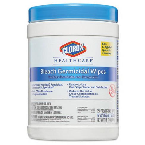 Clorox® Healthcare® Bleach Germicidal Wipes, 5in L x 6in W
