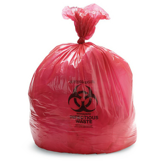Biohazard Waste Bag, Red with Black Print, 31in x 43in