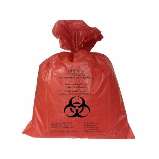 Autoclavable Biohazard Bags Polypropylene w/Indicator, Flat Seal, Coreless Roll, Red, 7-10 gal