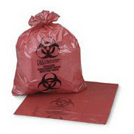 Saf-T-Seal Biohazard Bag, Red with Black, 4 to 6gal, 17 x 18, 8μ Gauge