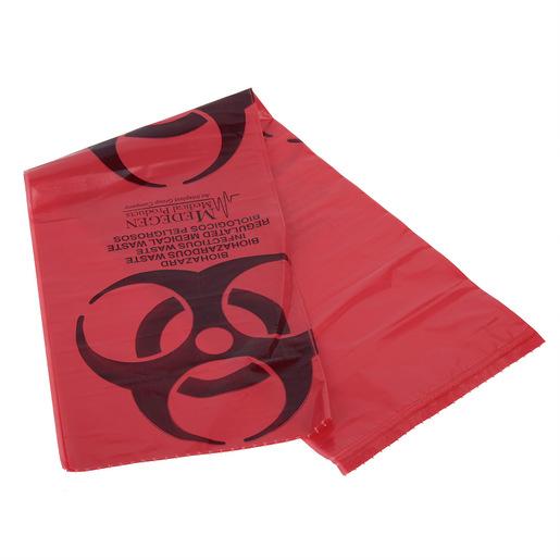 Biohazard Bag, Red, 7 to 10gal, 24in x 24in, 1.25mil Gauge