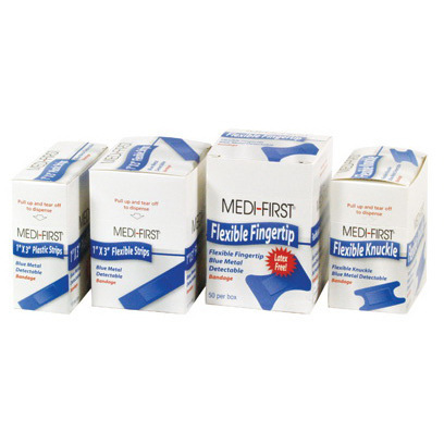 Medi First Metal Detectable Adhesive Bandage, 1in x 3in