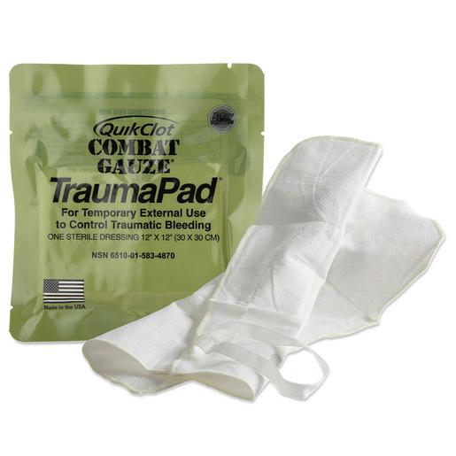QuikClot Combat Hemostatic Gauze TraumaPad®, 12in x 12in