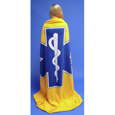 Star of Life Fleece Blanket, Yellow w/ Royal Blue