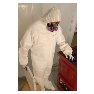 *Discontinued* Shieldtech 25 White Tri-Tuff Coverall with Hood and Boots, Elastic Wrists, Small