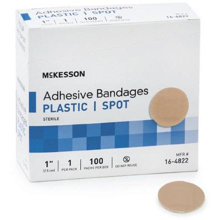 Spot Bandage, 1in Diameter, Tan, Plastic