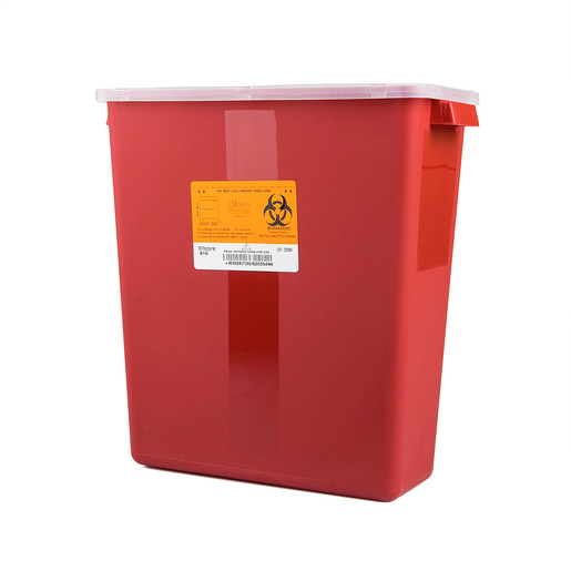 Stackable Sharps Container, Red/Black, 3 Gallon