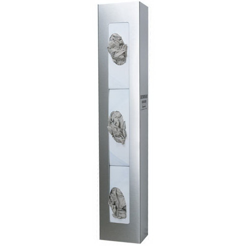 Glove Box Dispenser, 30.04 H x 5.5 W x 3.9in D, Silver, Stainless Steel