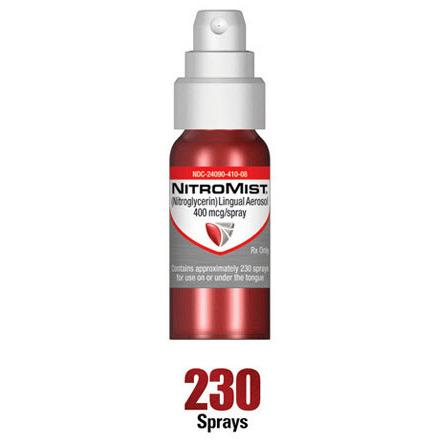 NitroMist Spray, 400mcg, 8.5gm, 230 Metered Doses