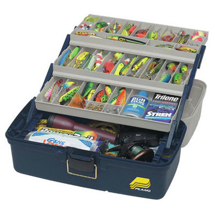 Tackle Box, XL, 3 Tray, 19.25in x 10in x 9.75in, Molded Plastic