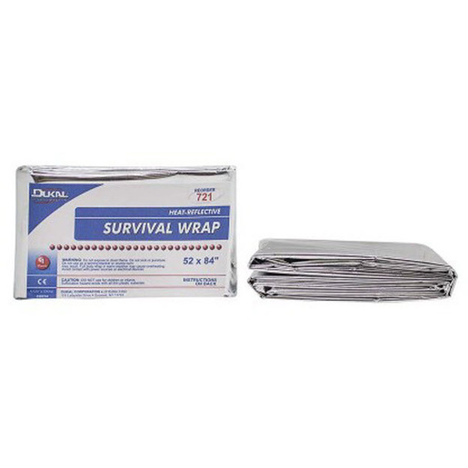 Heat Reflective Survival Wrap, Disposable, 52in x 84in