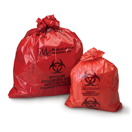 Biohazardous Waste Bag, Red with Black, 30gal, 30.5in x 41in, 1.2mil Gauge
