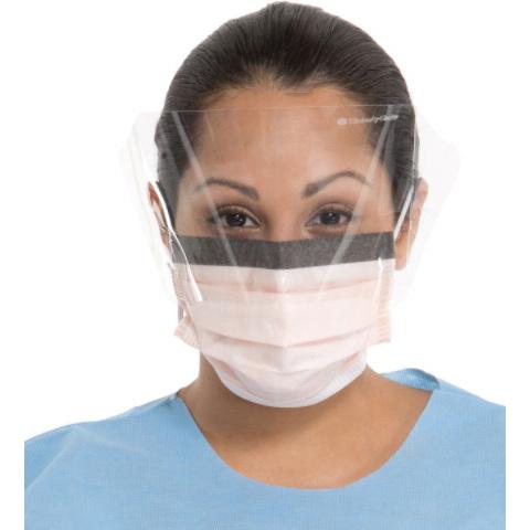 FluidShield® Fog-Free Procedure Mask, Wraparound Splashguard Visor, Orange