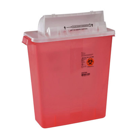 In-Room Sharps Container w/ SharpStar™ Lid, Transparent Red, 3 Gallon