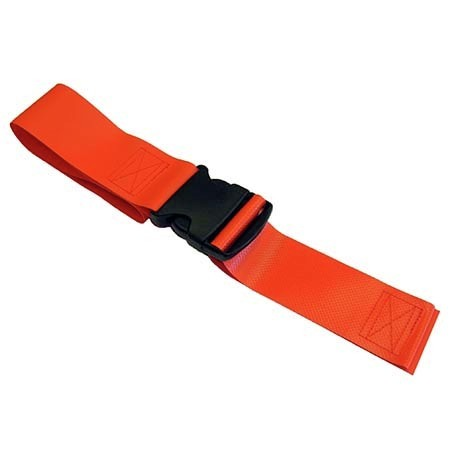 2-piece Vinyl Restraint Strap with Plastic Side Release and Loop Ends, 7ft L x 2in W, Orange