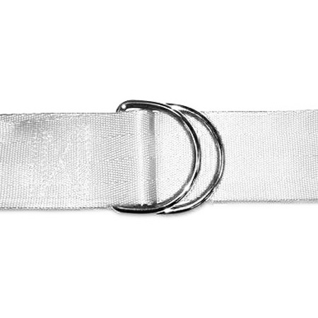 Disposable Nylon Strap with D Rings, 60in L x 1in W, White