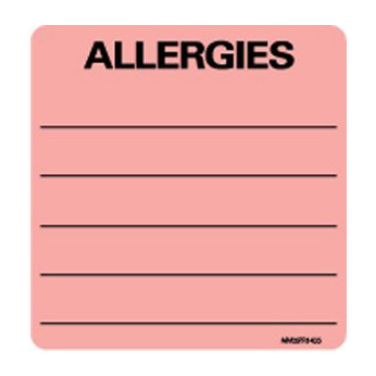 Pre-Printed Label Barkley® Allergy Alert Allergies Fluorescent, Red