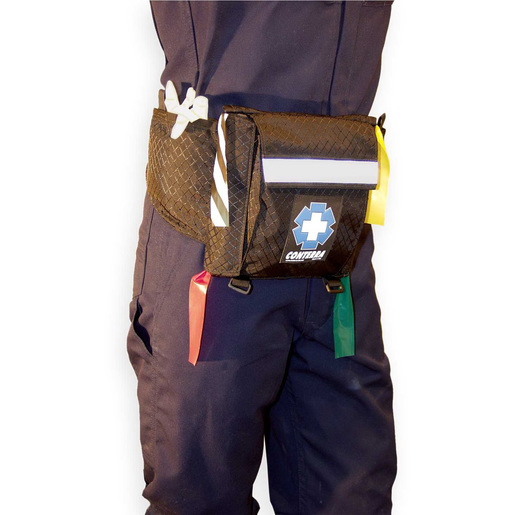 Deluxe Triage Belt with Large Front Pocket, 2 Outside Pockets and Lanyard Keeper, Black, 9in x 9in x 2in