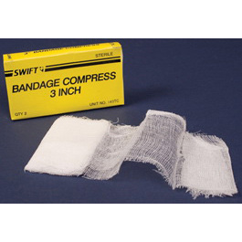 Sterile Compress Bandage, 3in L x 1in W, Cotton