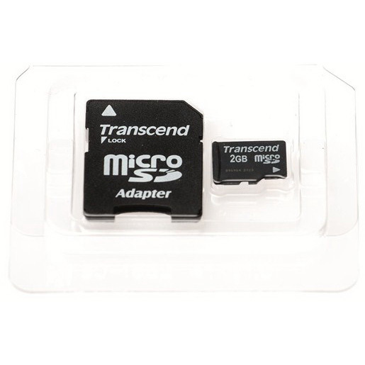MicroSD Card Kit w/SD Adapter and Plastic Case, 2GB