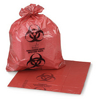Infectious Waste Bag, Red with Black, 1 to 3gal, 11in x 14in, 1.5mil Gauge