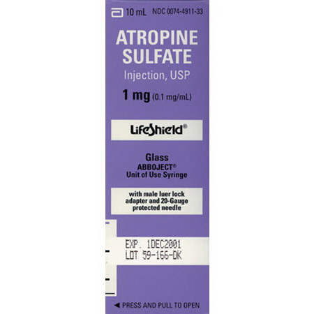 *Box Quantity* Atropine, 1mg, 10ml LifeShield Prefilled Syringe
