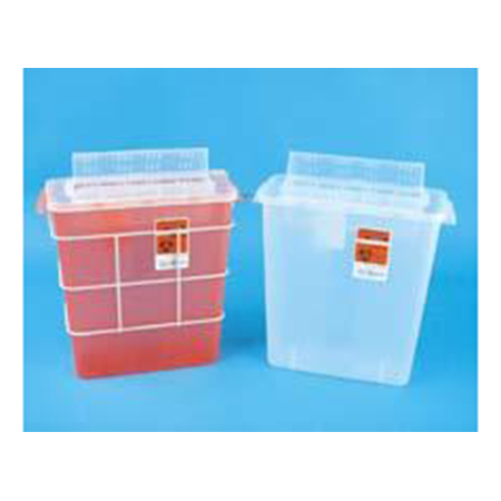 SharpSafety GatorGuard In Room Sharps Container, 3gal, Transparent Red
