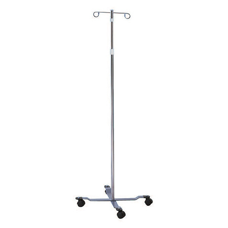 IV Pole with Wheels, Standard, Chrome, 2 Hooks, 4 Legs