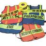 Safvests® Coat-Style Orange Specialty Vest with Lime Stripes, EMT Printed