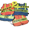 Safvests® Coat-Style Orange Specialty Vest with Lime Stripes, FIRE Printed