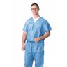 Disposable V-Neck Scrub Shirt, Blue, 2XL