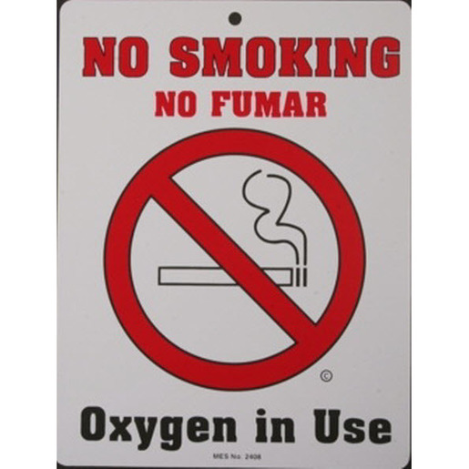 No Smoking Sign, 6in x 8in, Plastic