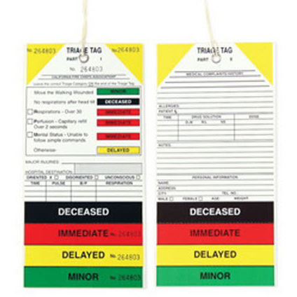 California Decontamination Medical Triage Tag, 4in x 8.5in