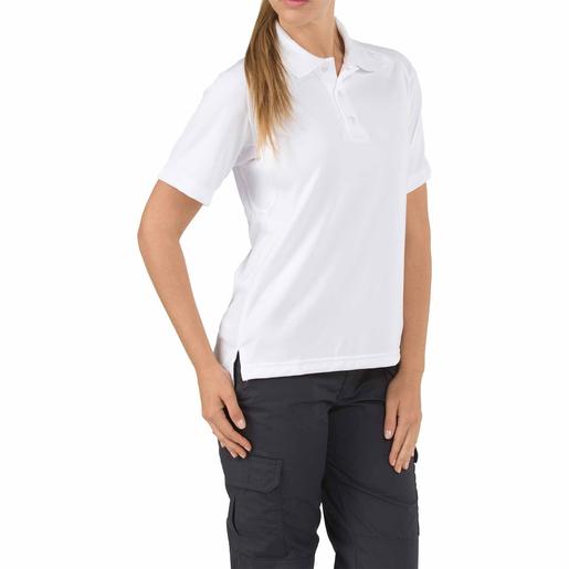5.11 Women's Performance Polo Shirts, Short Sleeve, White