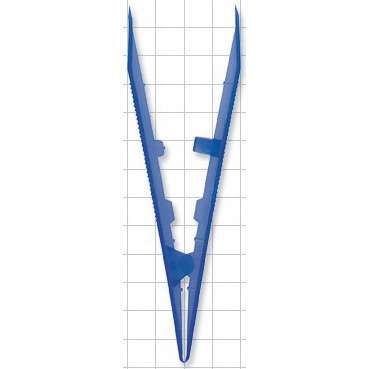 Flat Square Tip Transfer Forceps, 5in, Dark Blue