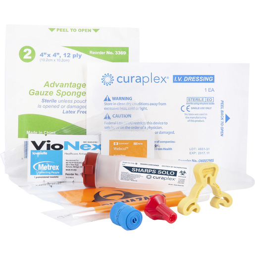 IV Start Kit with Kwik Klip, Sharps Dart, IV Guard Dressing, Prep Pads, Specimen Bag, Gauze and Tourniquet