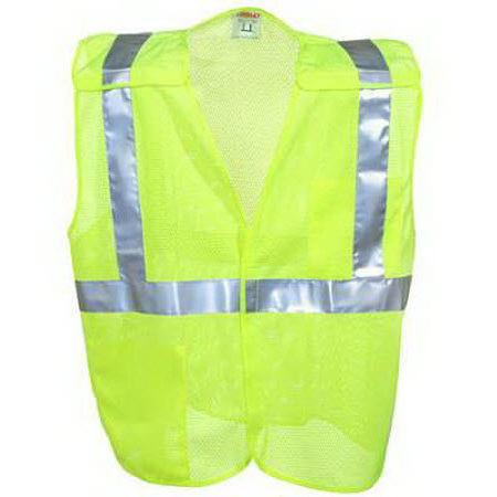 Unisex High-Visibility Lime 5-point Breakaway Safety Vest with Hook and Loop Closures, Large/XL, Big Fit