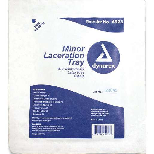 Minor Laceration Tray, Plastic, Sterile, Tyvek Lid, With Instruments
