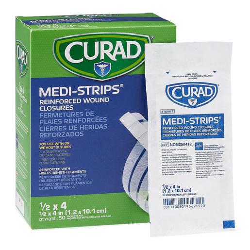 Curad Sterile Medi-Strip Reinforced Wound Closure, 1/2in x 4in